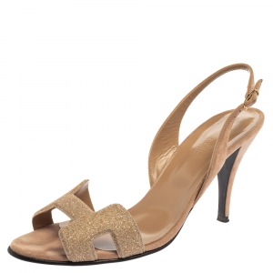 Hermes Beige Suede Night Crystal Powder Ankle Strap Sandals Size 39.5
