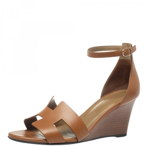 Hermes Brown Leather Legend Wedge Sandals Size 39