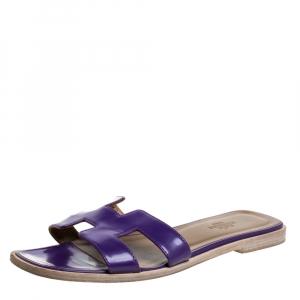 Hermes Purple Leather Oran Slide Sandals Size 36