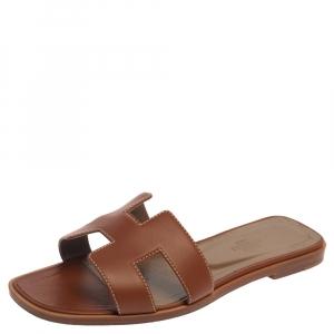 Hermes Brown Leather Oran Flat Slides Size 37.5