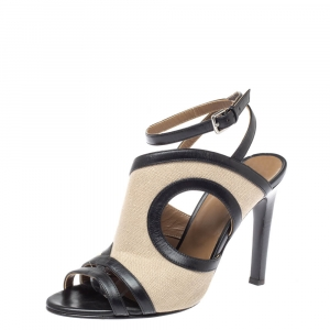 Hermes Beige/Black Leather And Canvas Ankle Wrap Sandals Size 40