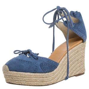 Hermes Blue Suede Espadrille Wedge Platform Sandals Size 38 - used