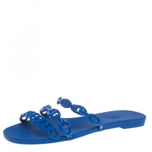 Hermes Blue Rubber Chaine d'Ancre Rivage Slide Sandals Size 37