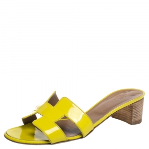 Hermes Yellow Leather Oasis Slide Sandals Size 40 - used