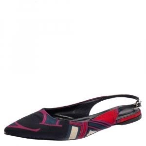 Hermes Navy Blue Printed Silk Laura Slingback Flat Sandals Size 37 - used