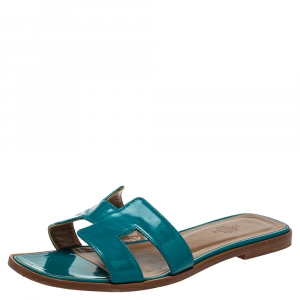 Hermes Blue Leather Oran Flat Sandals Size 38 - used