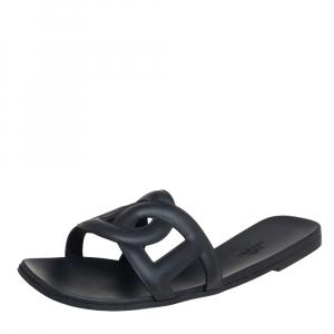 Hermes Black Rubber Aloha Flat Slides Size 39