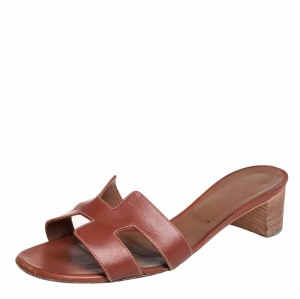 Hermes Brown Leather Oasis Sandals Size 42