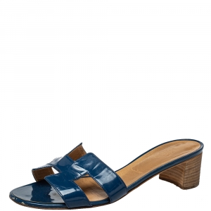 Hermès Blue Patent Leather Oasis Slide Sandals Size 40
