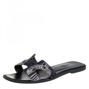 Hermes Black Printed Canvas Oran Sandals Size 37
