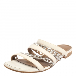Hermes White/Sliver Leather Amalfi Slide Sandals Size 40.5