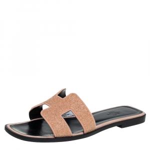 Hermes Beige Glitter Oran Flat Slides Size 37.5