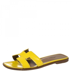 Hermes Yellow Patent Leather Oran Sandals Size 36