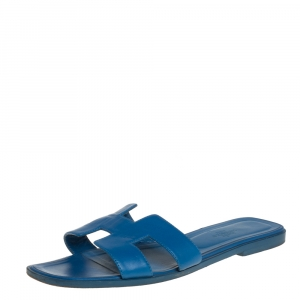 Hermes Blue Leather Oran Flat Slides Size 40