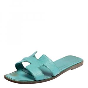 حذاء باليرينا فلات هيرمس أوران جلد أزرق مقاس 39