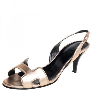 Hermes Metallic Bronze Leather Night Slingback Sandals Size 37