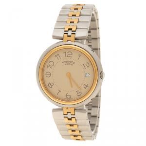 ساعة يد نسائية هيرمس كليبر ستانلس ستيل مطلية ذهب كريمية 33 مم