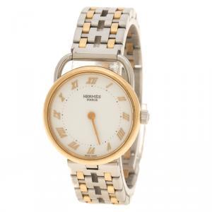 ساعة يد نسائية هيرمس ارسو ستانلس ستيل ومطلية ذهب أصفر عيار 18 بيضاء 25 مم
