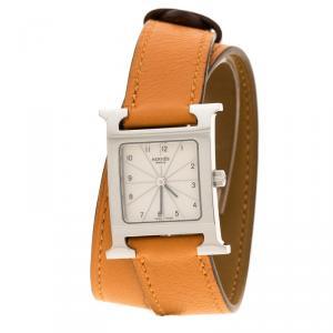 ساعة يد نسائية هيرمس H هييور ستانلس ستيل كريمي 21 مم