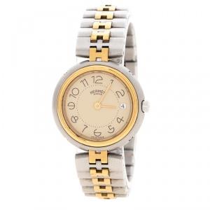 ساعة يد نسائية هيرمس كليبر ستانلس ستيل مطلي ذهب أبيض 25 مم