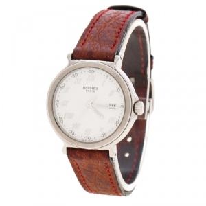 ساعة يد نسائية هيرمس جلد ستانلس ستيل بيضاء 27 مم