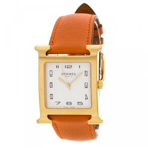 ساعة يد نسائية هيرمس هيور H GM HH1.801 ستانلس ستيل مطلية ذهب بيضاء 30 مم