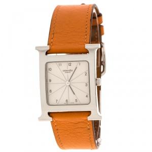 ساعة يد نسائية هيرمس هيور H HH1.510 ستانلس ستيل بيضاء 26 مم