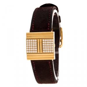 Hermes Mother of Pearl Diamond & 18K Gold Glissade GL1.271 Women's Wristwatch 20 mm
