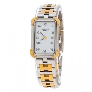 ساعة يد نسائية هيرمس كرواسيهCR1.220 ستانلس ستيل مطلي ذهب بيضاء 15 مم