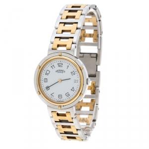 ساعة يد نسائية هيرمس كليبر ستانلس ستيل مطلي ذهب بيضاء 34مم
