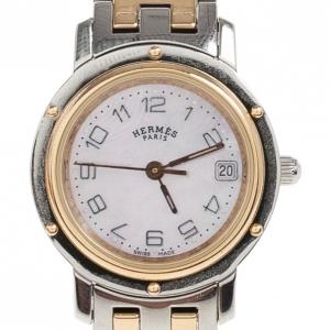 Hermes White Gold & Steel Clipper PM Women's Wristwatch 24MM