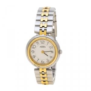 ساعة يد نسائية هيرمس كليبر ستانلس ستيل ومطلية ذهب بيضاء 25 مم
