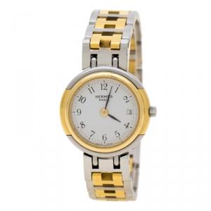 ساعة يد نسائية هيرمس ويندسور 62.03ستانلس ستيل ومطلية ذهب بيضاء 24 مم