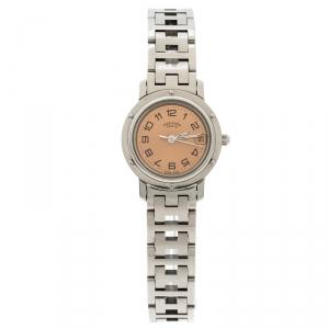 ساعة يد نسائية هيرمس كليبر CL4.210 ستانلس ستيل وردية 24 مم