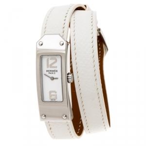 ساعة يد نسائية هيرمس كيلي 2 دوبل تور KT1.210 ستانلس ستيل بيضاء 15 مم