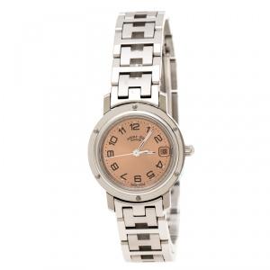 ساعة يد نسائية هيرمس Clipper CL4.210 ستانلس ستيل وردية فاتحة 24 MM