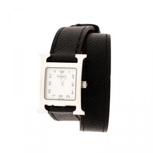 ساعة يد نسائية هيرمس هيوير H HH1.210 ستانلس ستيل بيضاء 21 مم