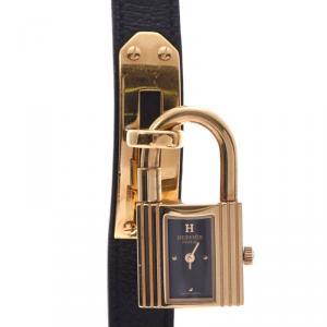 Hermes Black Gold Plated Kelly KE1.201 Women's Wristwatch 20×38MM