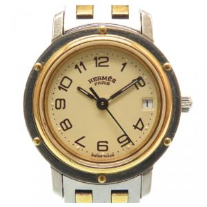 Hermes Gold and Stainless Steel Clipper Quartz Cl 3.240 Analog Women's Wristwatch 24MM