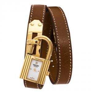 ساعة يد نسائية هيرمس كيلي KE1.201 مطلية ذهب أصفر مينا بيضاء 20 مم