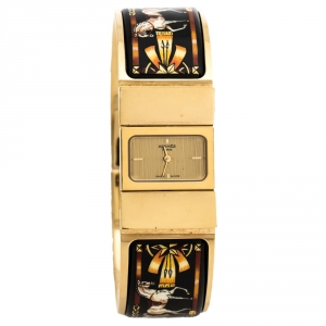 Hermes Gold Plated Stainless Steel Loquet L01.201 Women's Wristwatch 19 mm