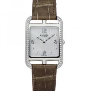 Hermes MOP Diamond Stainless Steel Cape Cod W044215WW00 Women's Wristwatch 29 x 29 MM
