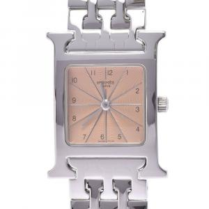 Hermes Pink Stainless Steel Heure H HH1.210 Women's Wristwatch 21 x 21 MM