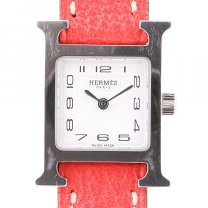 Hermes White Stainless Steel H Heure HH1.110 Women's Wristwatch 26 x 26 MM