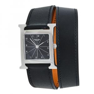 ساعة يد نسائية هيرمس هور  H HH1.510  ستانلس ستيل جلد ملتف سوداء 26 مم