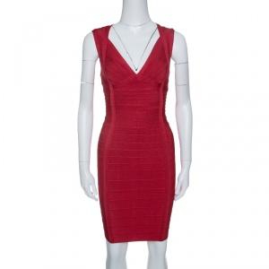 Herve Leger Lipstick Red Sleeveless Darby Bandage Dress S