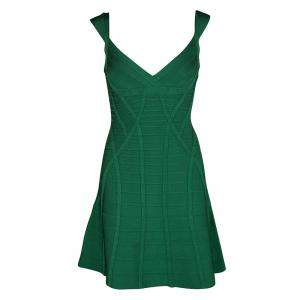 Herve Leger Pine Green Fit and Flare Sleeveless Mayra Dress M - used