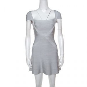 Herve Leger Icy Grey Cap Sleeve Makayla Bandage Skater Dress XXS used
