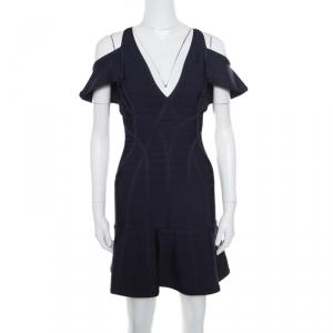 Herve Leger Indigo Cold Shoulder Estelle Bandage Dress S - used