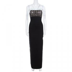 Herve Leger Black Sequin Grid Embellished Strapless Florence Bandage Gown XS used